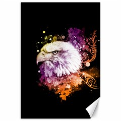 Awesome Eagle With Flowers Canvas 12  X 18   by FantasyWorld7