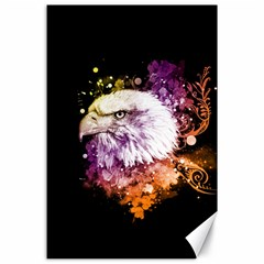 Awesome Eagle With Flowers Canvas 24  X 36  by FantasyWorld7