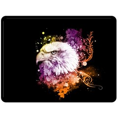 Awesome Eagle With Flowers Double Sided Fleece Blanket (large)  by FantasyWorld7
