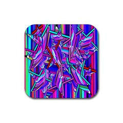 Stars Beveled 3d Abstract Stripes Rubber Coaster (square)