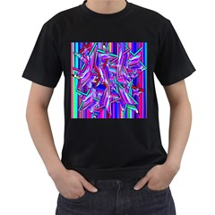 Stars Beveled 3d Abstract Stripes Men s T Shirt (black) (two Sided)