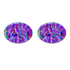 Stars Beveled 3d Abstract Stripes Cufflinks (oval)
