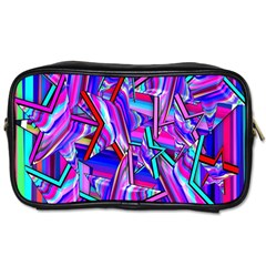 Stars Beveled 3d Abstract Stripes Toiletries Bags 2 Side