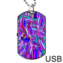 Stars Beveled 3d Abstract Stripes Dog Tag Usb Flash (two Sides)