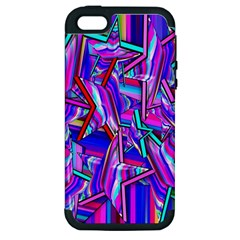 Stars Beveled 3d Abstract Stripes Apple Iphone 5 Hardshell Case (pc+silicone)