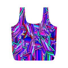Stars Beveled 3d Abstract Stripes Full Print Recycle Bags (m)