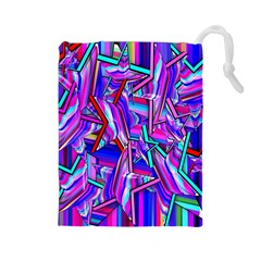 Stars Beveled 3d Abstract Stripes Drawstring Pouches (large)