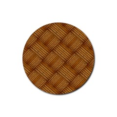 Wood Texture Background Oak Rubber Coaster (round)