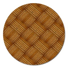 Wood Texture Background Oak Magnet 5  (round)