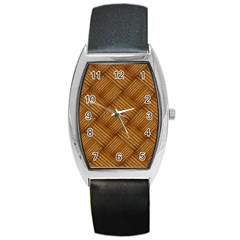 Wood Texture Background Oak Barrel Style Metal Watch