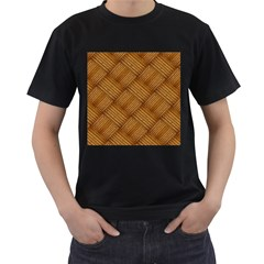 Wood Texture Background Oak Men s T Shirt (black) (two Sided)