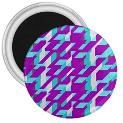 Fabric Textile Texture Purple Aqua 3  Magnets