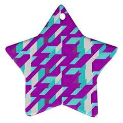 Fabric Textile Texture Purple Aqua Ornament (star)
