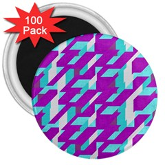 Fabric Textile Texture Purple Aqua 3  Magnets (100 Pack)