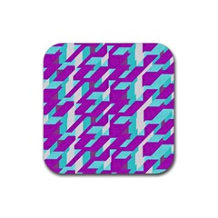 Fabric Textile Texture Purple Aqua Rubber Coaster (square)