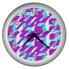 Fabric Textile Texture Purple Aqua Wall Clocks (silver)