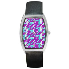 Fabric Textile Texture Purple Aqua Barrel Style Metal Watch by Nexatart