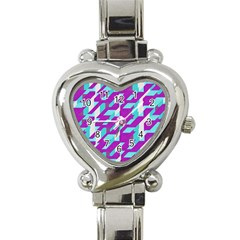 Fabric Textile Texture Purple Aqua Heart Italian Charm Watch