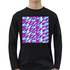 Fabric Textile Texture Purple Aqua Long Sleeve Dark T Shirts