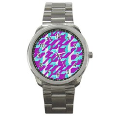 Fabric Textile Texture Purple Aqua Sport Metal Watch by Nexatart