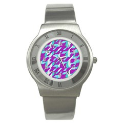 Fabric Textile Texture Purple Aqua Stainless Steel Watch by Nexatart