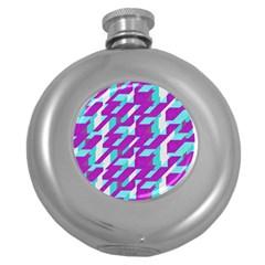 Fabric Textile Texture Purple Aqua Round Hip Flask (5 Oz)