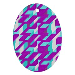 Fabric Textile Texture Purple Aqua Oval Ornament (two Sides)