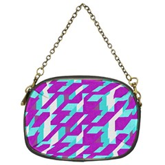 Fabric Textile Texture Purple Aqua Chain Purses (one Side)
