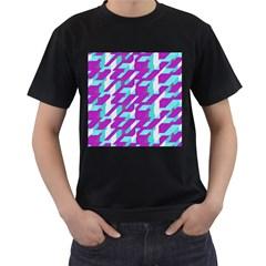 Fabric Textile Texture Purple Aqua Men s T Shirt (black)
