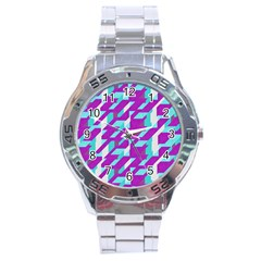 Fabric Textile Texture Purple Aqua Stainless Steel Analogue Watch