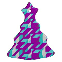 Fabric Textile Texture Purple Aqua Christmas Tree Ornament (two Sides)