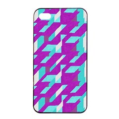 Fabric Textile Texture Purple Aqua Apple Iphone 4/4s Seamless Case (black)