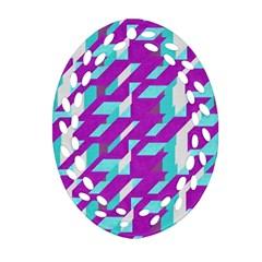 Fabric Textile Texture Purple Aqua Oval Filigree Ornament (two Sides)
