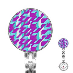Fabric Textile Texture Purple Aqua Stainless Steel Nurses Watch