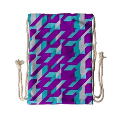 Fabric Textile Texture Purple Aqua Drawstring Bag (small)
