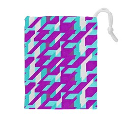 Fabric Textile Texture Purple Aqua Drawstring Pouches (extra Large)