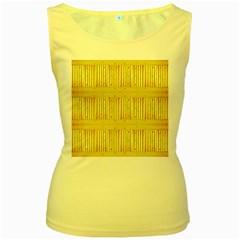 Wood Texture Grain Light Oak Women s Yellow Tank Top
