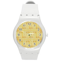 Wood Texture Grain Light Oak Round Plastic Sport Watch (m)