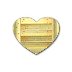 Wood Texture Background Light Rubber Coaster (heart)