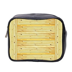 Wood Texture Background Light Mini Toiletries Bag 2 Side