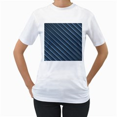 Diagonal Stripes Pinstripes Women s T Shirt (white) (two Sided)