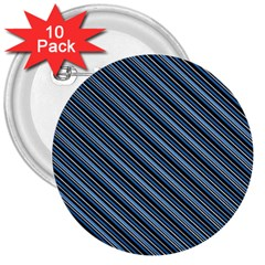 Diagonal Stripes Pinstripes 3  Buttons (10 Pack)