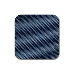 Diagonal Stripes Pinstripes Rubber Square Coaster (4 Pack)