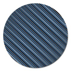 Diagonal Stripes Pinstripes Magnet 5  (round)