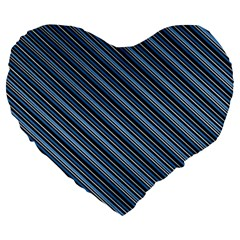 Diagonal Stripes Pinstripes Large 19  Premium Heart Shape Cushions