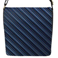 Diagonal Stripes Pinstripes Flap Messenger Bag (s)