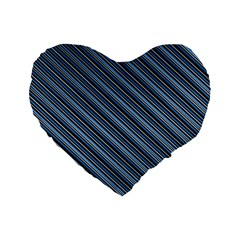 Diagonal Stripes Pinstripes Standard 16  Premium Flano Heart Shape Cushions