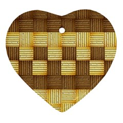 Wood Texture Grain Weave Dark Ornament (heart)