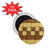 Wood Texture Grain Weave Dark 1 75  Magnets (10 Pack)