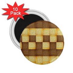 Wood Texture Grain Weave Dark 2 25  Magnets (10 Pack)